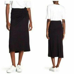 Gibson black ruched ponte midi skirt size XS